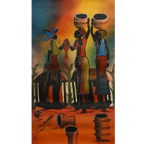 Chico 'Fisher Village Scene' Canvas Art (Malawi)