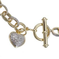 PalmBeach 18k Gold over Silver Diamond Accent Heart Charm Bracelet Diamonds & Gems