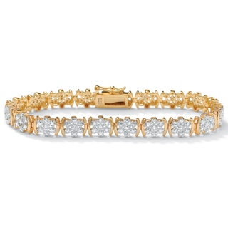 PalmBeach 1/4 TCW Round Diamond Flower Tennis Bracelet in 18k Gold over Sterling Silver