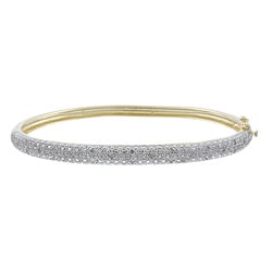 Isabella Collection 18k Gold over Silver 1/4ct TDW Diamond Bangle Bracelet (I-J, I3)