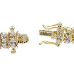 PalmBeach 18k Gold over Silver Diamond Accent 'S' Link Bracelet