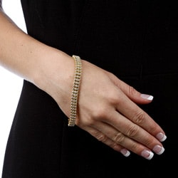 Isabella Collection 18k Gold over Silver Diamond Accent 'S' Link Bracelet