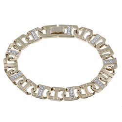 Ultimate CZ Men's Gold Overlay Cubic Zirconia Bracelet