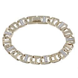PalmBeach CZ Men's Gold Overlay Cubic Zirconia Bracelet