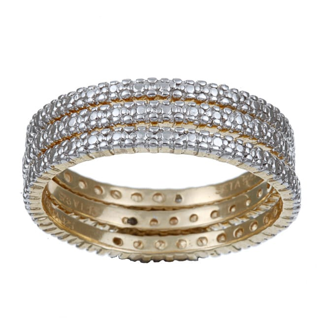 PalmBeach Gold over Silver Diamond Accent Stackable Rings (Set of 3)
