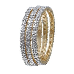 Isabella Collection Gold over Silver Diamond Accent Stackable Rings (Set of 3)