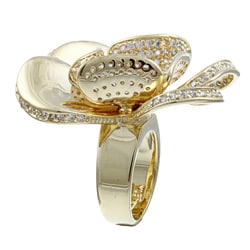 Ultimate CZ 14k Yellow Gold Overlay Cubic Zirconia Flower Ring