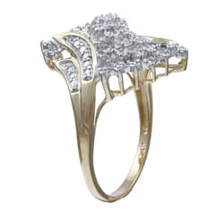 PalmBeach 10k Gold 1/10ct TDW Diamond Swirl Design Ring (G-H, I3) Diamonds & Gems