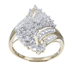 Isabella Collection 10k Gold 1/10ct TDW Diamond Swirl Design Ring (G-H, I3)
