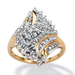 PalmBeach 1/10 TCW Round Diamond Swirled Ring in 10k Gold
