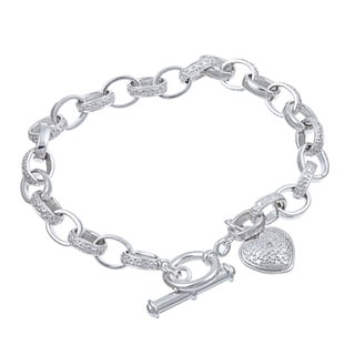 Isabella Collection Platinum over Silver Diamond Accent Heart Charm Bracelet