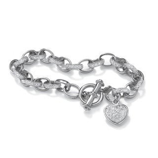PalmBeach Diamond Accent Heart Charm Bracelet in Platinum over .925 Sterling Silver