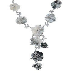 Angelina D'Andrea Silver Overlay Black Mother of Pearl Flower Necklace