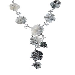 PalmBeach Silver Overlay Black Mother of Pearl Flower Necklace Bold Fashion