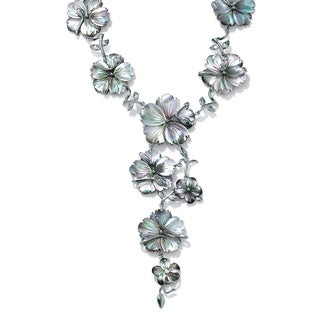 """PalmBeach Flower-Shaped Black Freshwater Mother-Of-Pearl Silvertone """"Y"""" Necklace 18"""" Bold Fashion"""