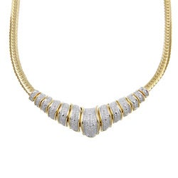 PalmBeach 18k Gold over Silver 1/8ct TDW Diamond Chevron Necklace (H-I, I2-I3) Diamonds & Gems