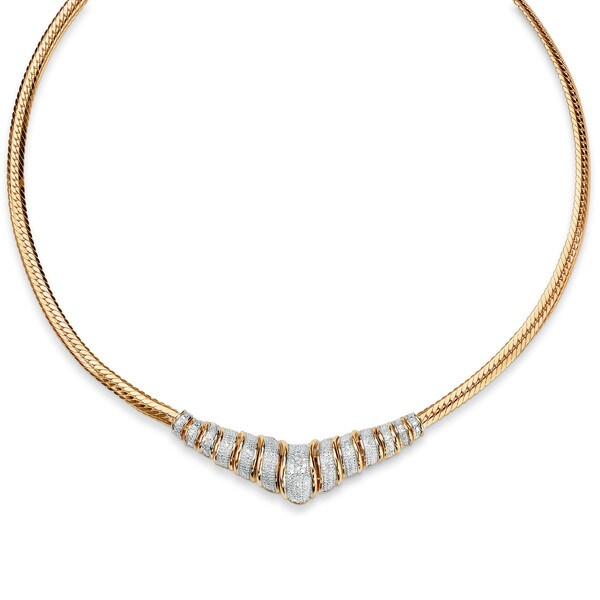 PalmBeach 1/10 TCW Diamond Chevron and Snake-Link Necklace in 18k Gold over .925 Sterling Silver 20""