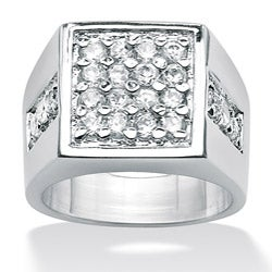 Ultimate CZ Platinum Over Silver Men's Cubic Zirconia Ring