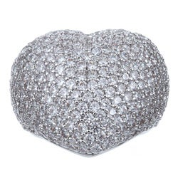 Ultimate CZ Silver Overlay Cubic Zirconia Pave Heart Ring