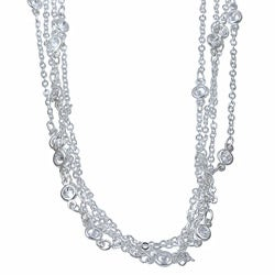 Isabella Collection Silvertone Metal Cubic Zirconia 100-inch Endless Necklace