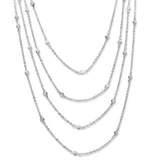 PalmBeach Silvertone Metal Cubic Zirconia 100-inch Endless Necklace Classic CZ