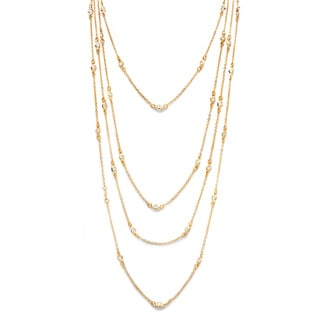 PalmBeach Gold Overlay Cubic Zirconia 100-inch Endless Necklace Classic CZ
