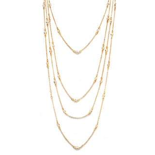 Isabella Collection Gold Overlay Cubic Zirconia 100-inch Endless Necklace
