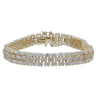 PalmBeach CZ 14k Yellow Gold Overlay Clear Cubic Zirconia Tennis Bracelet Glam CZ