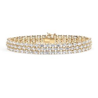 """PalmBeach 28.60 TCW Oval Cut Cubic Zirconia 18k Gold-Plated Triple-Row Tennis Bracelet 8 1/2"""" Glam CZ"""