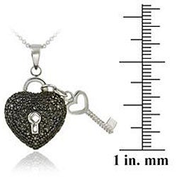 DB Designs Sterling Silver Black Diamond Accent Heart and Key Necklace