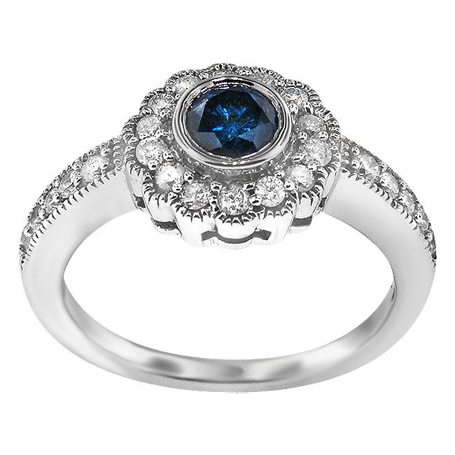 Sterling Silver 1ct TDW Blue/ White Diamond Vintage Halo Ring (H-I, I1-I2)