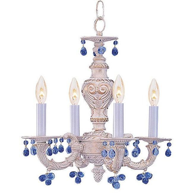 sutton 4 light antique white blue murano mini chandelier 13059305 overstock shopping