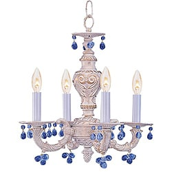 Sutton 4-light Antique White Blue Murano Mini Chandelier