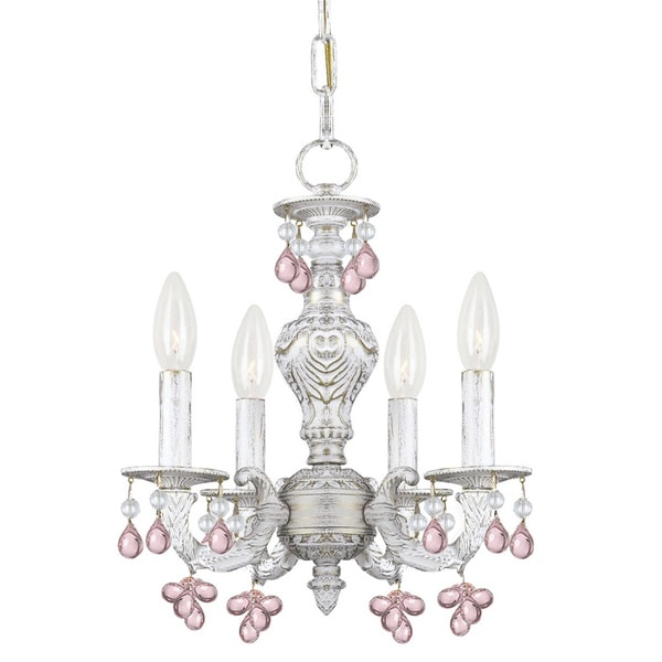 Sutton 4-light Antique White Rose Murano Mini Chandelier