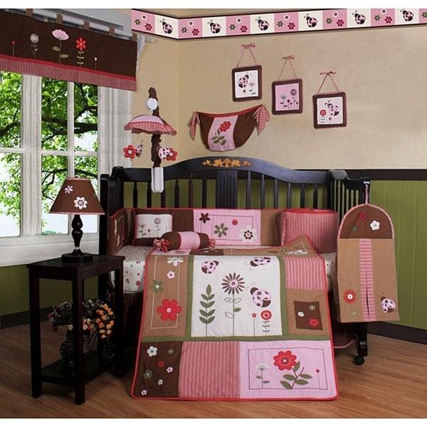 Geenny Ladybug and Flower 13-piece Crib Bedding Set