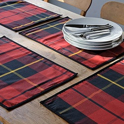Holiday Red/Green Plaid 100-percent Cotton Placemat Set (Set of 4)