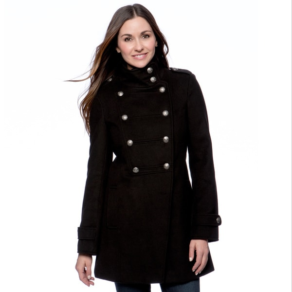 Maralyn & Me Women's Double-breasted Military Coat (As Is Item)