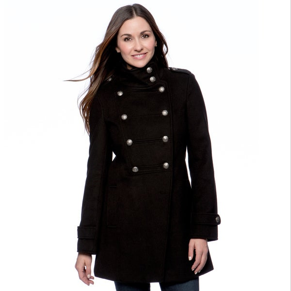 Maralyn & Me Women's Double-breasted Military Coat Large Size in Black (As Is Item)