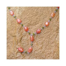 Stainless Steel 'Tangarine Marmalade' Carnelian Necklace (Thailand)