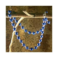 Sterling Silver 'Timeless Blue' Lapis Lazuli Strand Necklace (India)