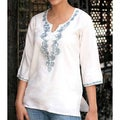 Cotton and Silk 'Sky Blossom' Beaded Tunic (India)