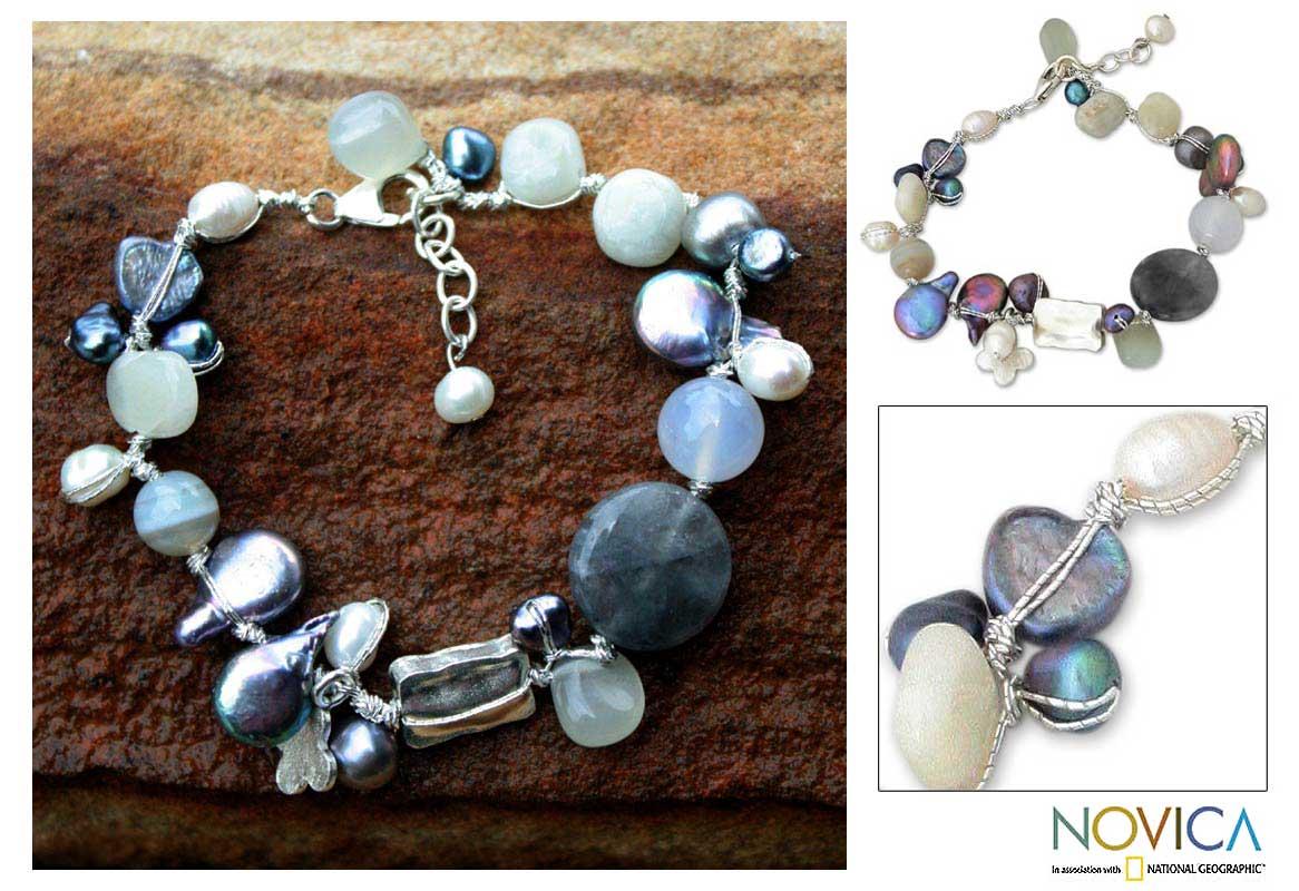 Pearl and Moonstone 'Midnight Sea' Beaded Bracelet (Thailand)