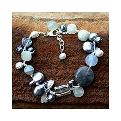 Pearl and Moonstone 'Midnight Sea' Beaded Bracelet (Thailand)