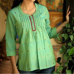 Handmade Women's 'Lemon Lime' Cotton Blouse (India)