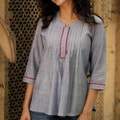 Handmade Women's 'Blue Cloud' Cotton Blouse (India)