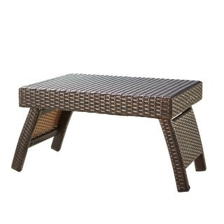 RST Outdoor Espresso Rattan Lounger Side Table