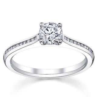 14k White Gold 1 1/6ct TDW Certified Diamond Engagement Ring (H, SI3)