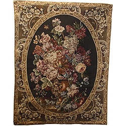 Floral Black Wall Tapestry (2' 4 x3')