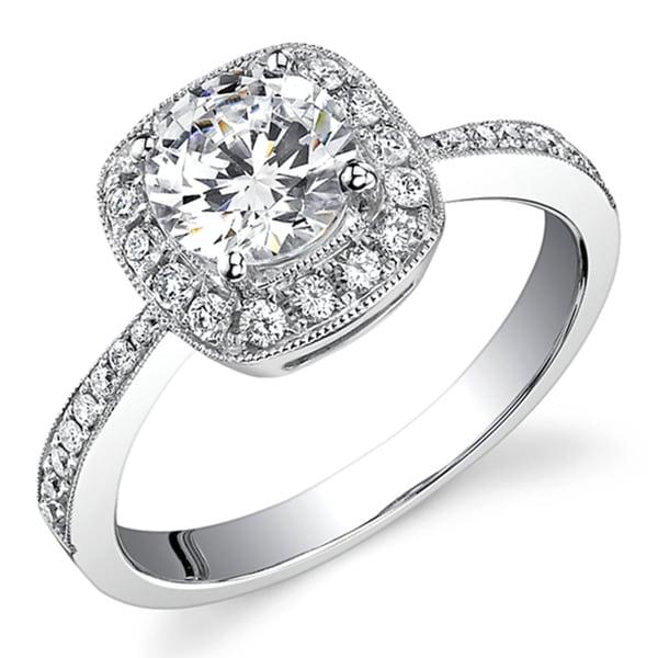 18k white gold 3 4ct tdw engagement ring h si1