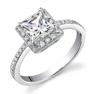 18k Gold 3/4ct TDW Princess Diamond Halo Engagement Ring (H, SI1-SI2)